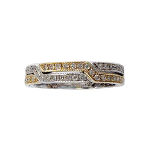Diamond Zig Zag Yellow and White Gold Band