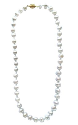 Aquamarine and White Cultured Freshwater Pearl Necklace
