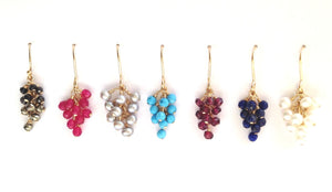 Gemstone Bunch Cluster Earring