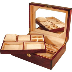 Mahogany and Suede Velvet Large Jewelery Box