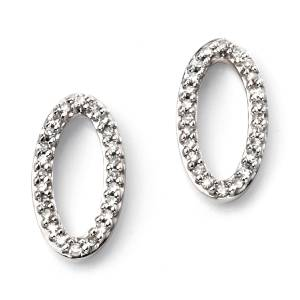 Diamond Pave Oval Stud Earrings