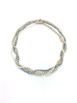 White Cappucino Dove Grey Twist Pearls