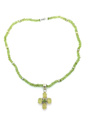 Peridot Necklace with Serpentine Cross