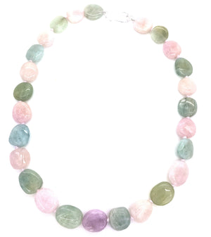 Pastel Aqua Pink Beryl Necklace