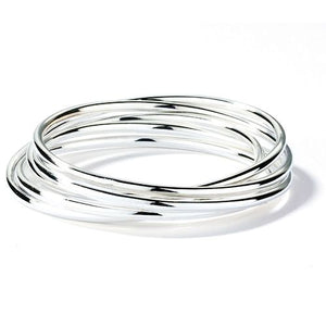 Silver Interlocking 5 Link Bangle