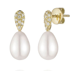 Pearl and Pave Diamond Earrings