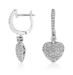 Diamond Heart Pave Set Earrings