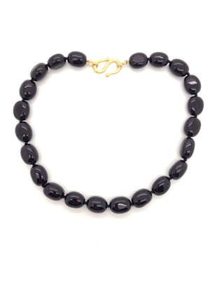 Black Oval Agate Necklace