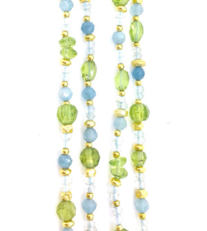 Peridot and Aquamarine Gemstone Necklace