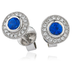 Round Sapphire and Diamond Stud Earrings