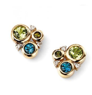Peridot Blue Topaz Stud Earrings