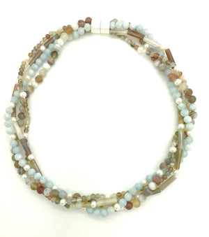 Aquamarine, Pearl and Botswana Agate Necklace