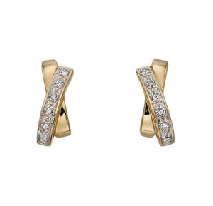 Diamond and Yellow Gold X Earrings