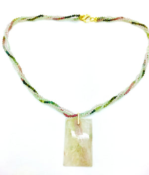 Tourmaline Prehenite and Rose Quartz Necklace