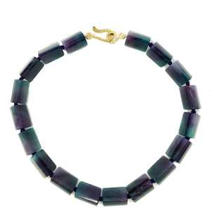 Dark Purple Banded Fluorite Necklace