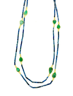 Sapphire and Carved Leaf Emerald Necklace