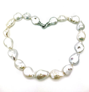 Keishi Pearl Necklace With Silver Clasp