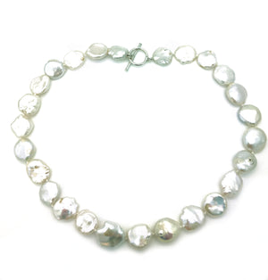White Keishi Pearl Necklace & Silver Clasp