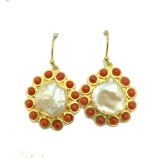 Coral and Pearl Baroque Drops