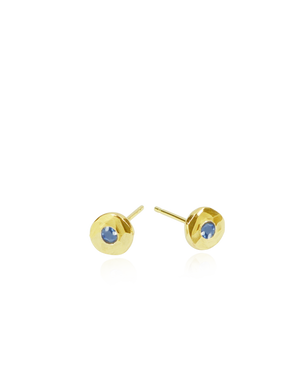 Blue Sapphire & Gold Nugget Stud Earrings