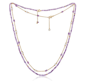 Amethyst Fine Chain Necklace Set