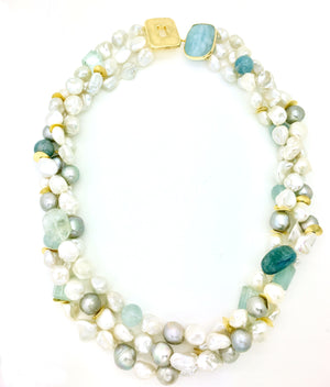 Aquamarine and Baroque Pearl Necklace
