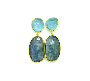 Aquamarine and Blue Sapphire Pendant Earrings