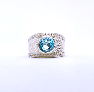 Blue Topaz Wide Silver Ring
