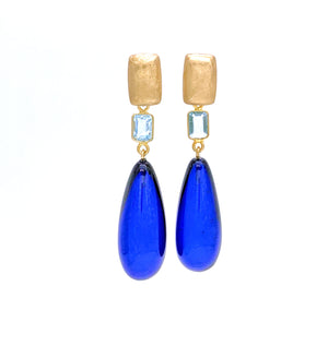 Blue Amber and  Blue Topaz Drop Earrings