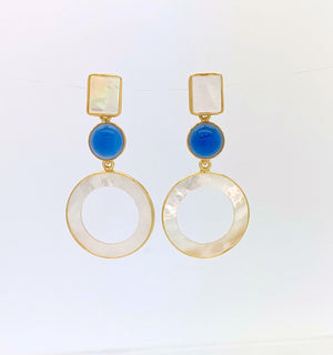 Mother of Pearl and Blue Chalcedony Circle Drop Earrings