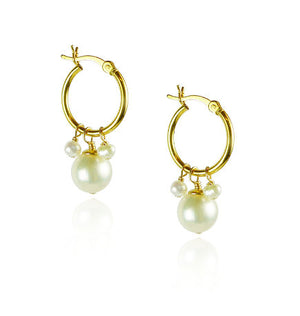 Pearl Hoop Cluster Earrings
