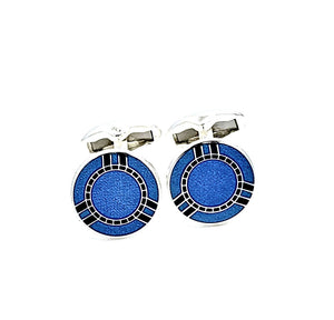 Two Tone Blue Enamel Swivel End Cufflink