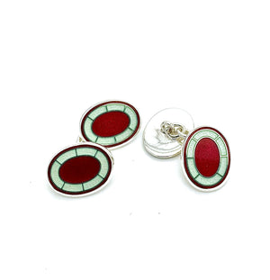 Oval Cerise and Lime Cream Cufflinks