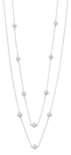 Long Double Pearl Chain Necklace