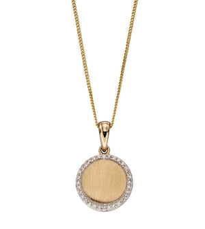 Diamond and Brushed Gold Disc Pendant and Chain Necklace