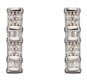 Baguette Bar Diamond Earrings