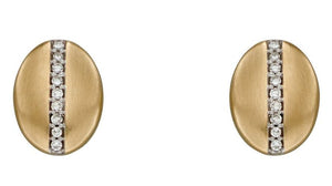 Brushed Gold and Diamond Oval Stud Earrings