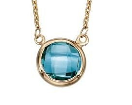 Gold and Blue Topaz Necklace