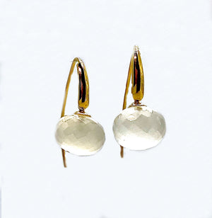 White Chalcedony Facetted Drop Earrings