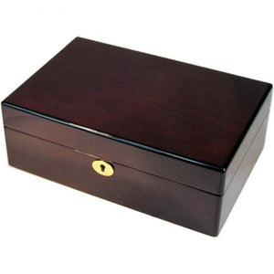 Mahogany and Suede Velvet Medium Jewellery Box
