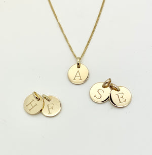 Gold Disc Initial Necklace