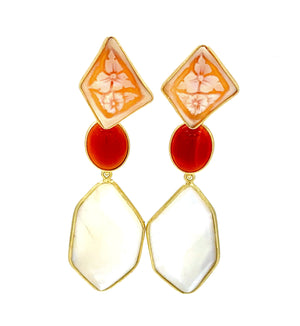 Coral and Mother of Pearl Long Drop Earrings