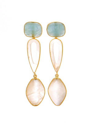 Aquamarine and Mother of Pearl Long Drop Earrings
