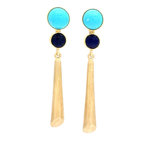Turquoise and Lapis Long Drop Earrings