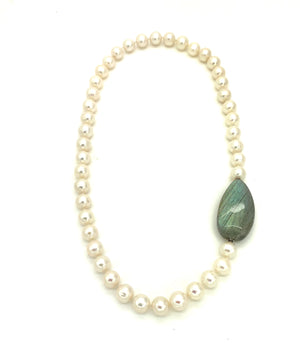 Pearl Necklace with Labradorite Clasp