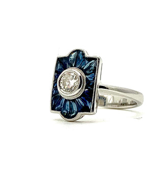 Diamond and Sapphire Deco Style Ring