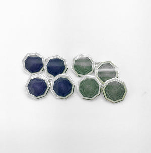 Enamel Grey and Purple Cufflinks