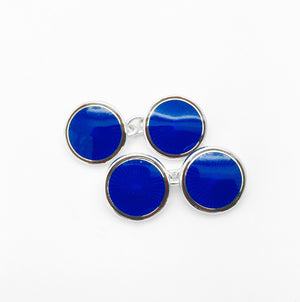 Enamel Round Royal Blue Cufflinks