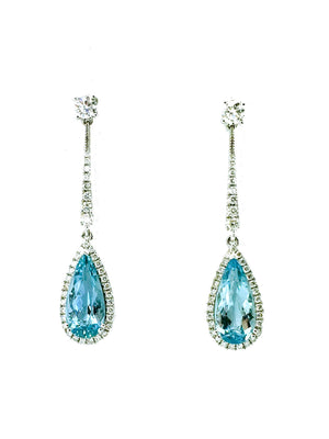 Aquamarine and Diamond Long Drop Earrings