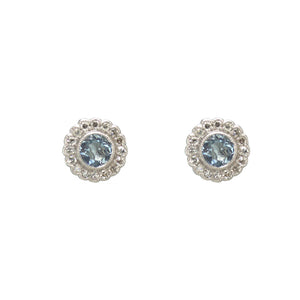 Aquamarine and Diamond Round Cluster Earrings